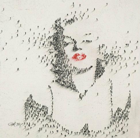 L'artista che dipinge con le persone