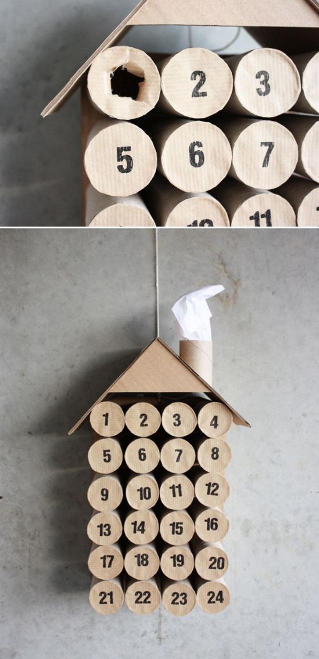calendario avvento fai da te idee : In periodo di crisi tutto pu? essere riciclato, anche i rotoli di ...
