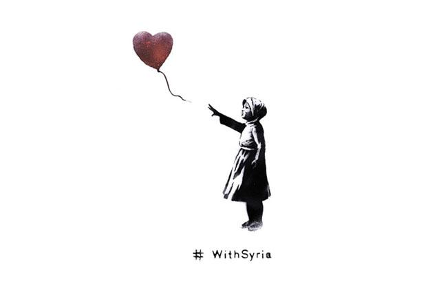 Banksy rivisita la sua 'ragazza col palloncino a cuore' per la Siria