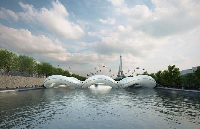 A Parigi il primo ponte trampolino: attraversare la Senna non è mai stato così divertente