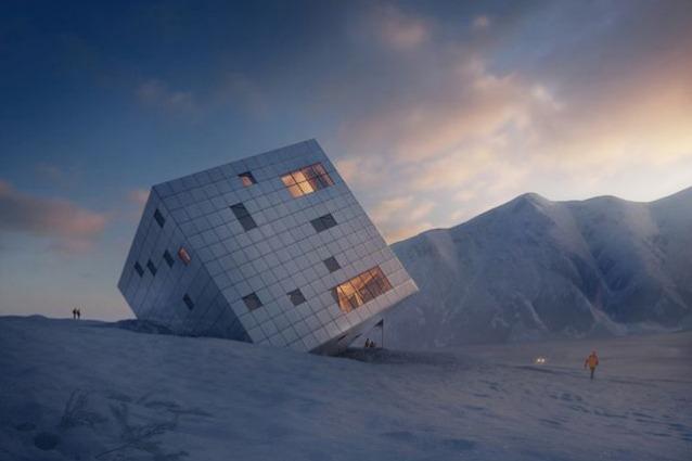 Kezmarske Hut: lo chalet di montagna diventa un cubo avveniristico