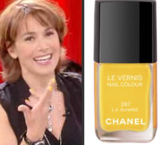 Smalto giallo Chanel per Barbara D'Urso a Pomeriggio Cinque