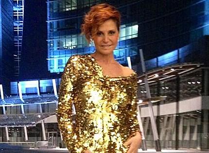 Simona Ventura, look glamour per il lancio della nuova edizione di X-Factor