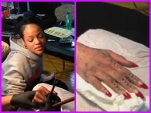 L'ultima follia di Rihanna? Un tatuaggio fatto con lo scalpello (VIDEO)