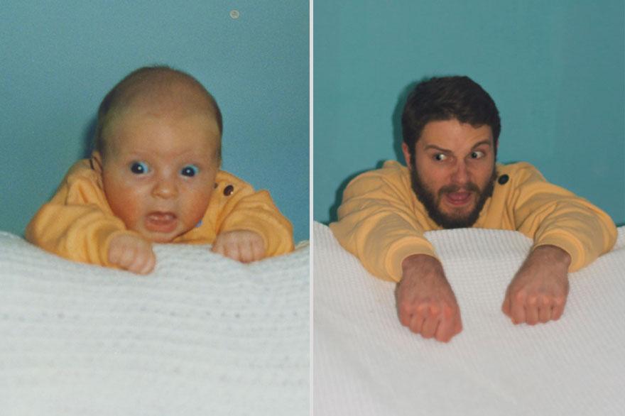 Due fratelli ricreano le foto dell'infanzia per donarle alla mamma