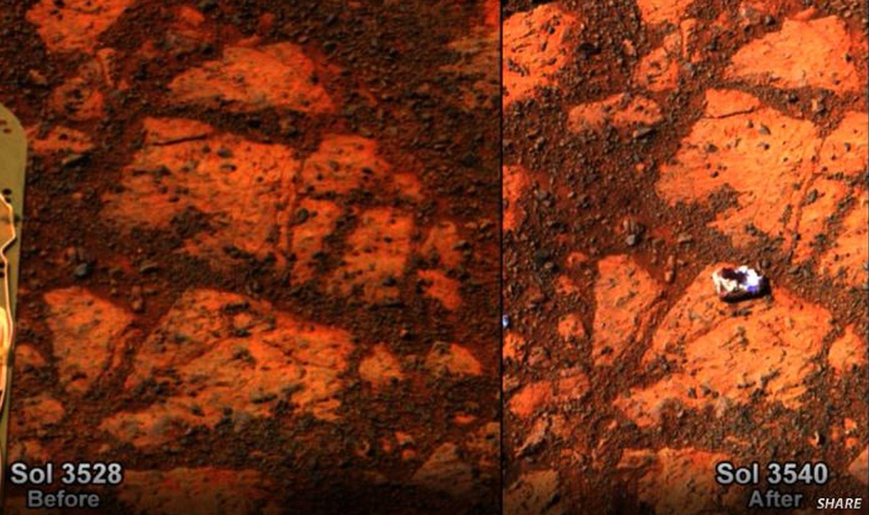 Su Marte appare un nuova roccia