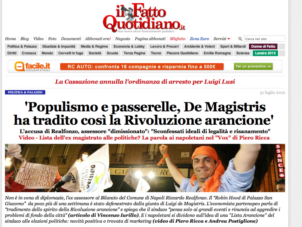 La homepage del Fatto Quotidiano con l'intervista su Realfonzo