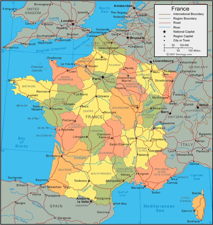 La Cartina Della Francia Politica.Cartina Muta Della Francia Politica