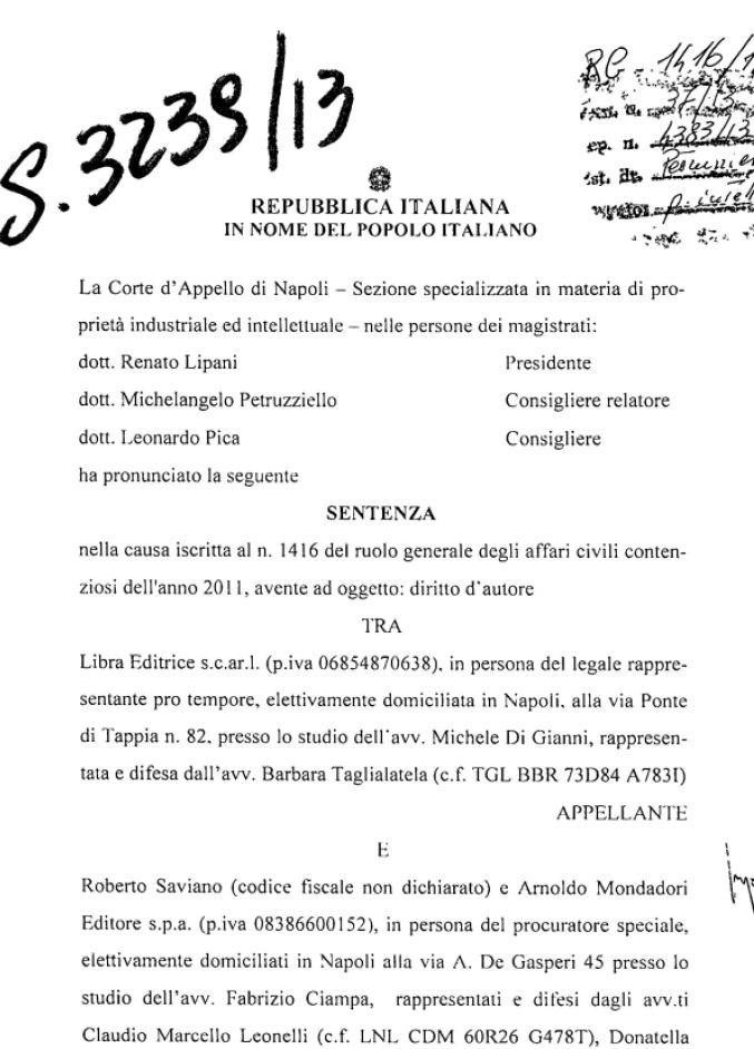 LA SENTENZA DI CONDANNA PER ROBERTO SAVIANO - PDF