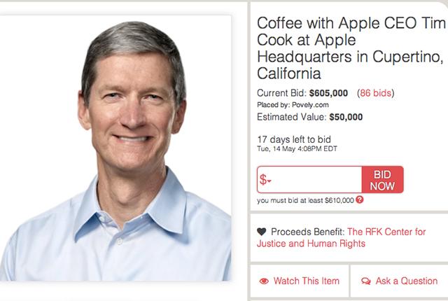 Un caffè con Tim Cook vale più di 600.000 dollari