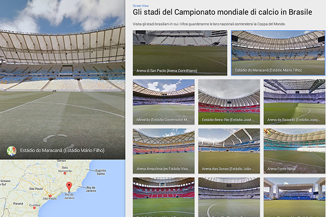 Mondiali di calcio 2014, tutti gli stadi e le strade dipinte del Brasile su Google Maps
