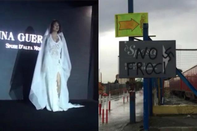 Scritte omofobe e svastiche per Vladimir Luxuria vestita da sposa