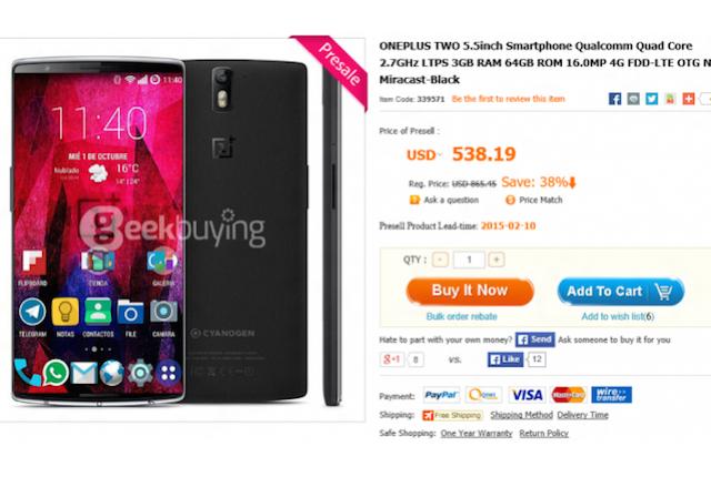 OnePlus Two, spunta una prevendita in Cina