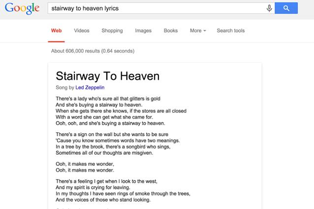 Google inserisce i testi delle canzoni nei risultati di ricerca