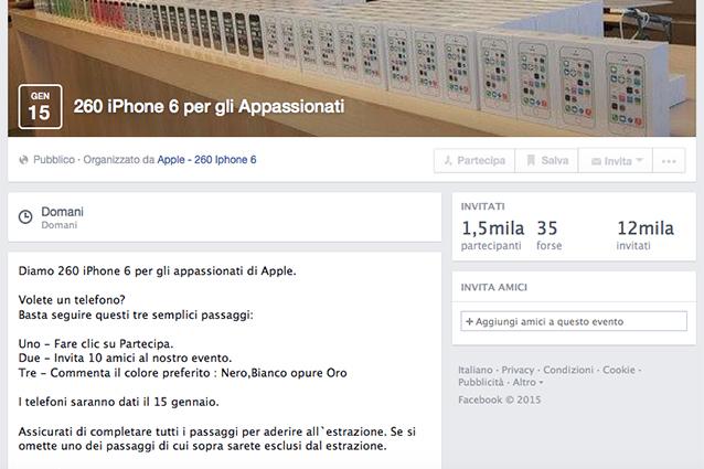 Bufale su Facebook, dopo le carte regalo Zara si possono vincere iPhone 6