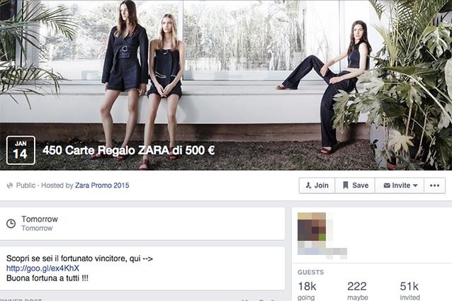 Facebook, la nuova bufala delle carte regalo Zara da 500 euro