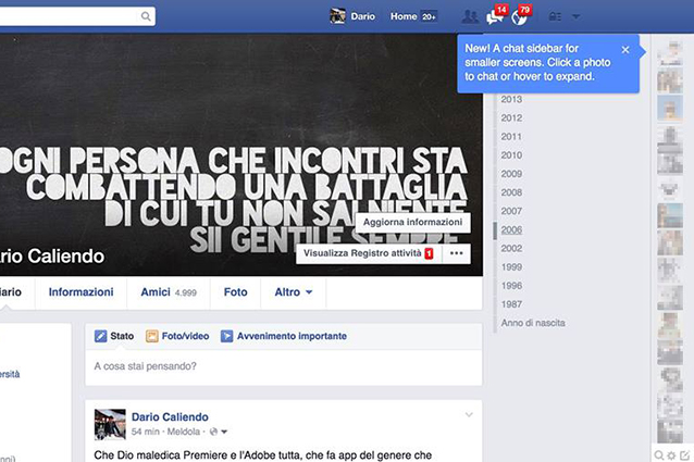 Facebook modifica la visualizzazione della chat all'interno del social network [FOTO]